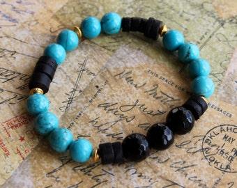 Turquoise Black Bead Bracelet. Robin's Egg Blue Black Bead Bracelet. Onyx Black 10mm Beads. 6mm Beads. Gold Beads. Stone Bead Bracelet.