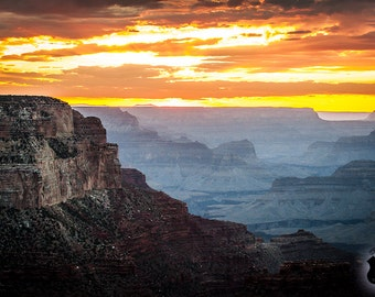 Grand Canyon Photography Fine Art Print, After Sunset into the Grand Canyon National Park (lower rim) Arizona, Grand Canyon Photo, JC Kirk