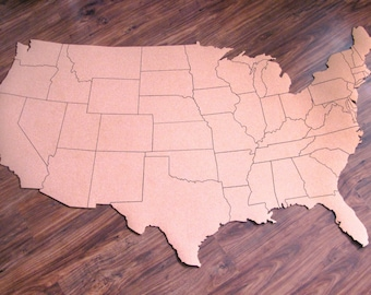 """Corkboard map of US with outline of states, Size XXXL (measures approx 72""""x45"""")"""