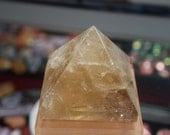Citrine Quartz crystal Pyramid - Natural crystal - Large 3 5/8 inches - rich Citrine color - Rainbows