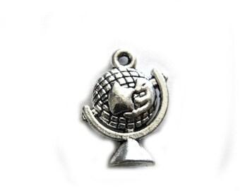 6 Silver Globe Charms  - 21mm - Steampunk Charm