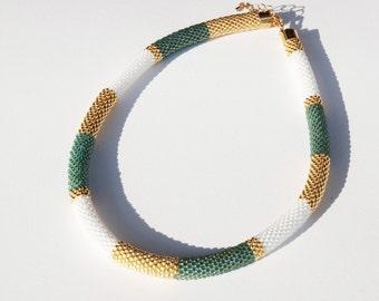 Necklace beadwork emerald