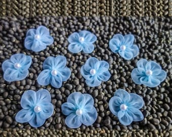 Small Sheer Gathered Blue Ribbon Flowers with Pearl Centers