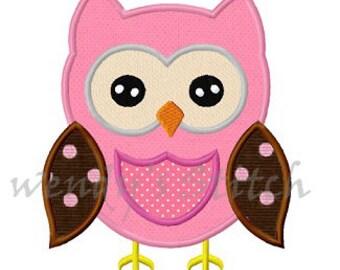 Owl applique machine embroidery design digital pattern