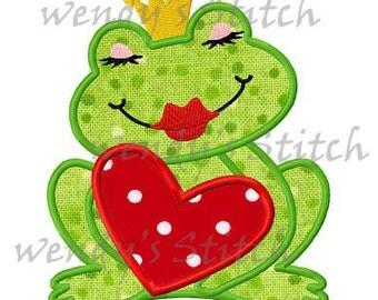 Valentine love frog applique machine embroidery design digital pattern