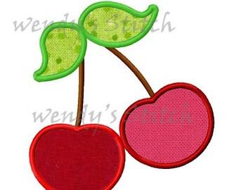 Cherry applique machine embroidery design digital pattern
