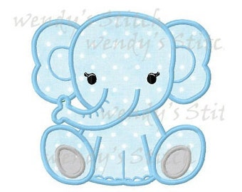 Baby elephant applique machine embroidery design digital pattern