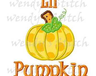 Lil pumpkin applique machine embroidery design instant download