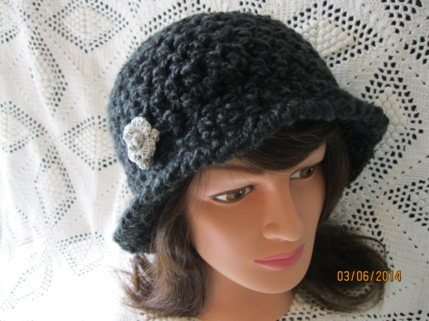 A one of a kind ladies crochet brim hat made of back homespun