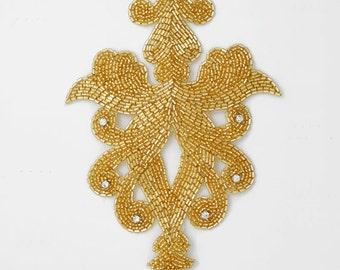 Rhinestone Beaded Applique, Beaded patch, Bridal Applique, 7-3/4''H x 5''W,  FF-818