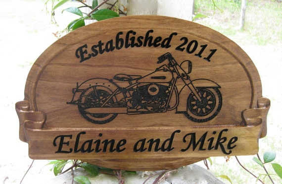 Unique Wedding Gifts Glasgow : Personalized Wedding Gift Name Sign with Harley Davidson Man Cave ...