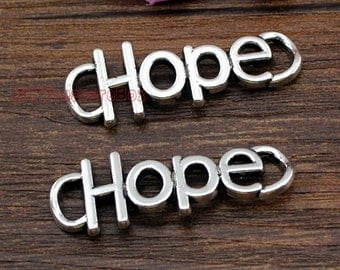 15pcs--Hope charms, Antique Tibetan silver hope charm Pendants connector 37x13mm