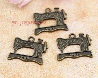 35pcs- Sewing Machine Charms, Antique Bronze Sewing Machine Charm Pendants 20x17mm
