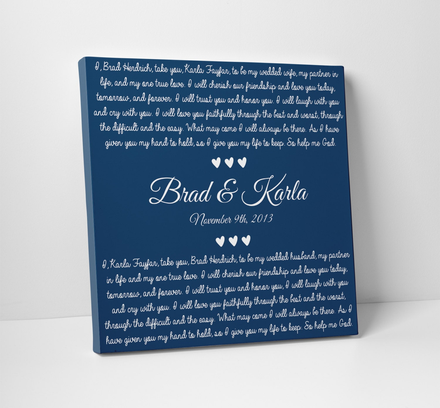 Wedding Decor Wedding Vow Art For Him For Her