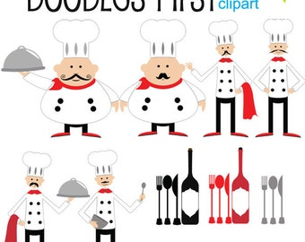 Top Chef Clipart Digital Clip Art for Scrapbooking Card Making Cupcake Toppers Paper Crafts