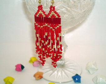 Earrings with a fringe
