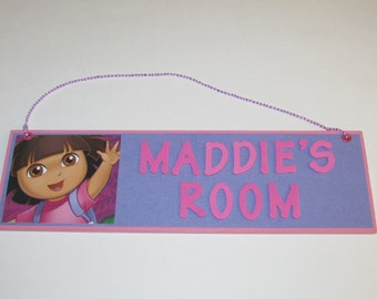 Dora the Explorer Personalized Room Decor Sign - Dora the Explorer Name Sign - Dora Personalized Sign