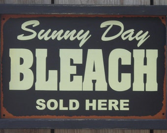 Wood Framed Tin Sign, Sunny Day Bleach Sold Here, 9 1/4 by 13 3/4 inches, Free Shipping