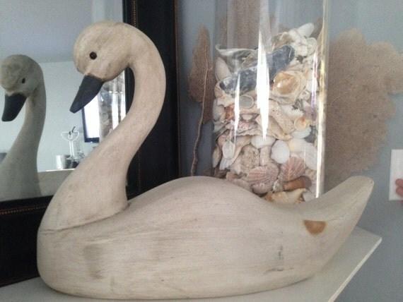 White Washed Decorative Wood Swan Decoy Beachy Decor Mantle