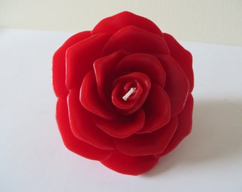 "Red Rose Floating Candle -  unscented - 2 1/2"" in diameter"