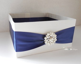Wedding Program Box / Amenities Box / Program Holder / Open Box / Bubble box / Advice box (White & Navy blue) - rhinestone