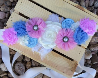 Gender Neutral Pink & Baby Blue Maternity Sash-Gender reveal-Photography Prop