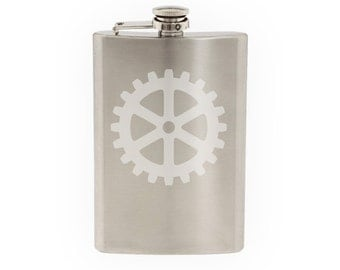 Industry #5 - Gear Mechanical Engineering Construction - Etched 8 Oz Stainless Steel Flask