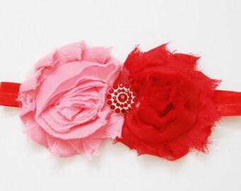 Lori headband - Peach/red