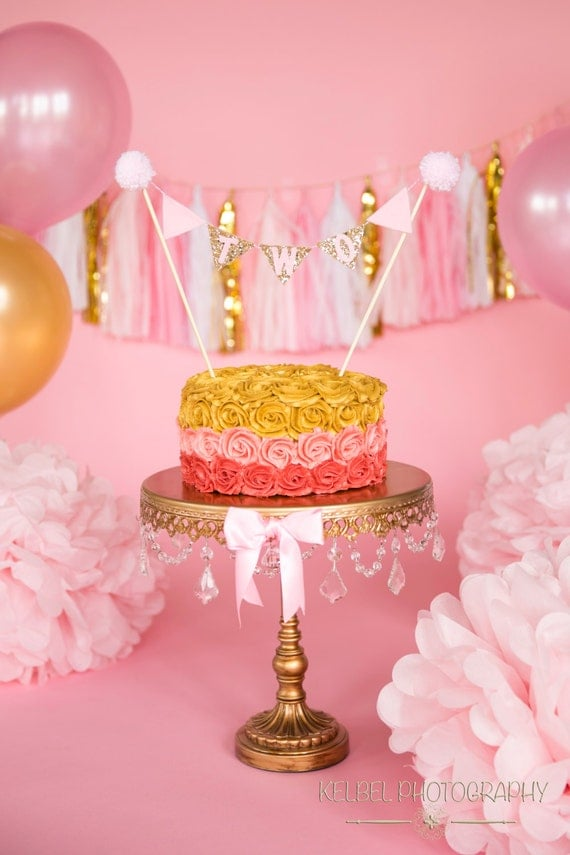 New CAKE Bunting Flag Banner and Mini Party Hat Set Pink and