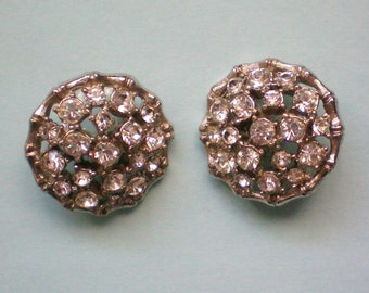 Two Round Rhinestone Buttons - 2300