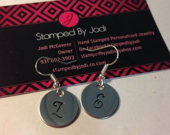 Hand stamped round stainless steel dangle initials earrings