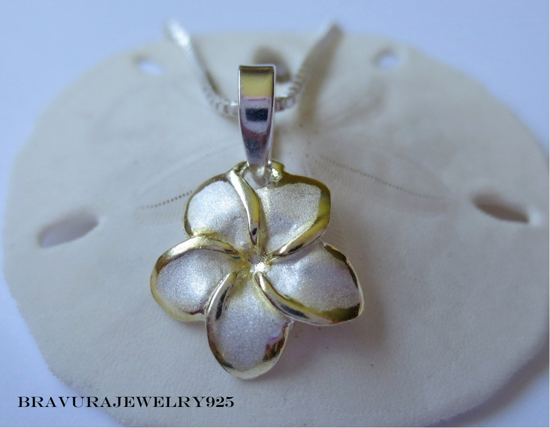 sterling silver and gold plumeria by bravurajewelry925 on etsy