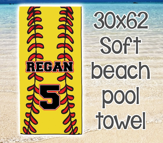 Personalized Beach Pool Towel Monogram Summer Softball