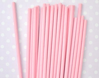 25 Pink Solid Color Paper Straws