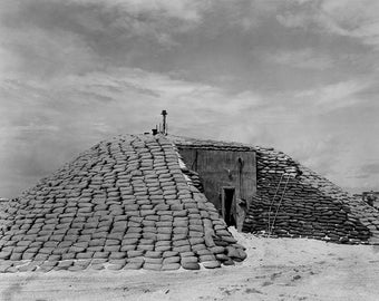 Sandbag Covered Bunker, Nuclear Bomb Testing, Bikini Atoll, 1940s (Black and White Historical Photograph, Giclée Print)