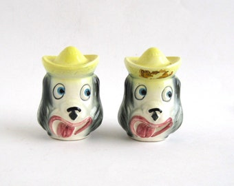 Sombero Puppies  Salt and Pepper Shakers