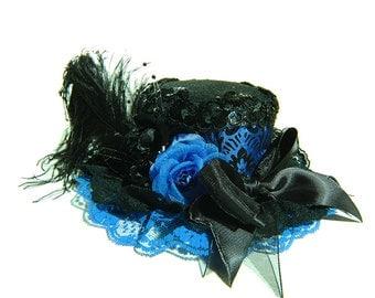 Damask Blue Mini Top Hat