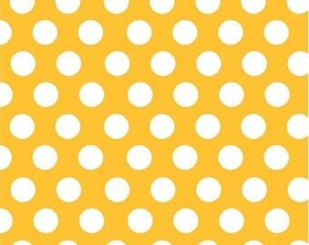 Yellow gold with white polka dots craft  vinyl sheet - HTV or Adhesive Vinyl -  large polka dot pattern HTV728