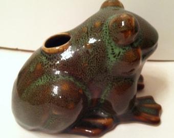 Vintage Pottery Frog Vase
