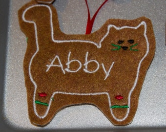 Cat Personalized Felt Gingerbread or Angel Ornament