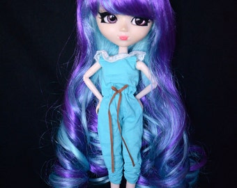 Blue and Purple Long length Curly Wig for Pullip Dolls 1/3 Head size