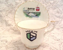 "Vintage Royal Albert Bone China ""Expo 74"" World's Fair Gilded Tea Cup and Saucer - Hard to Find  - Pristine Condition"