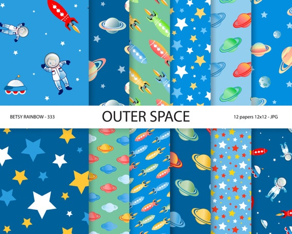 Space paper pack space digital paper astronaut by betsyrainbow for Outer space paper