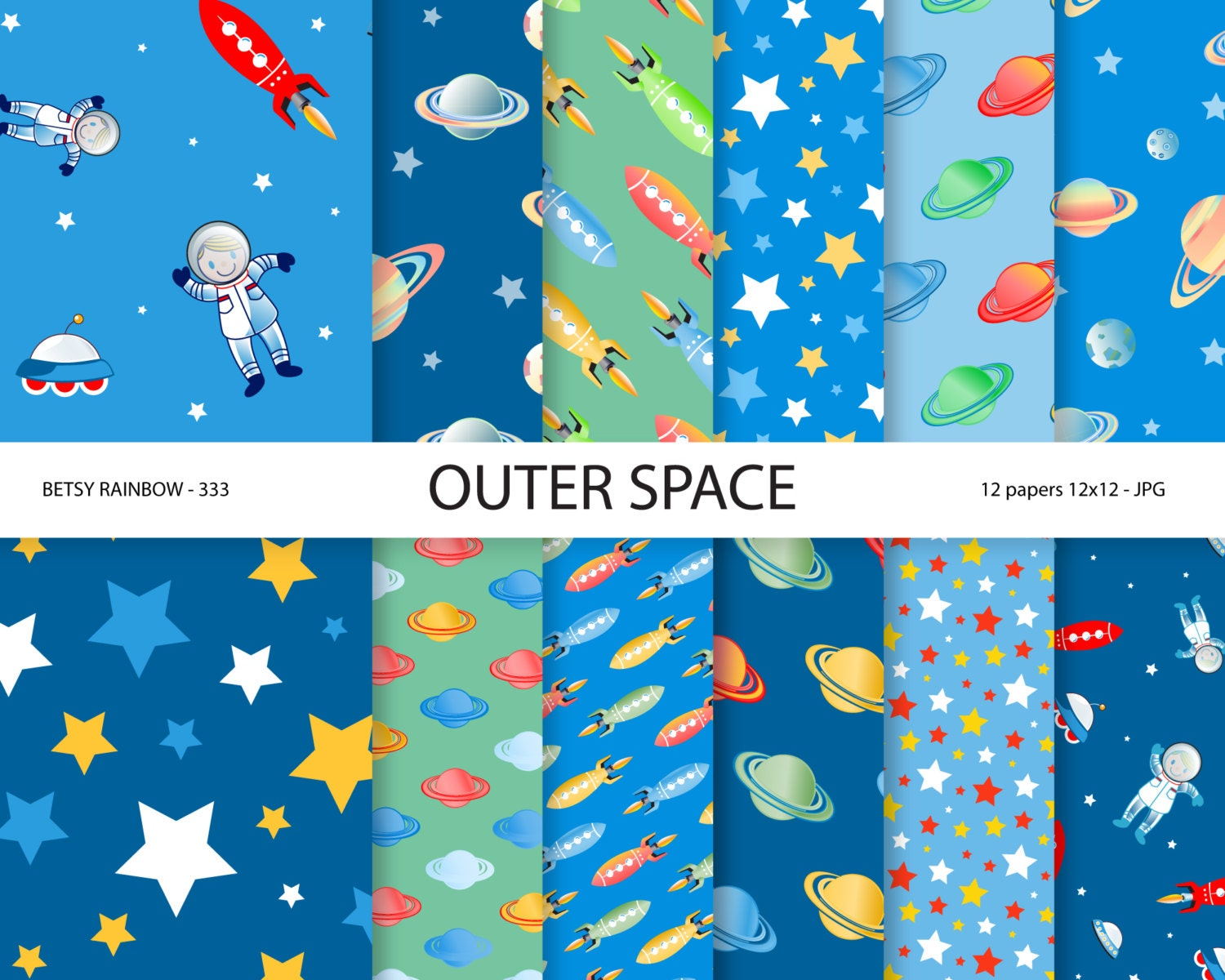 Scrapbook paper etsy - Space Paper Pack Space Digital Paper Astronaut Party Paper Scrapbook Paper Rocket Outer Space Br 333