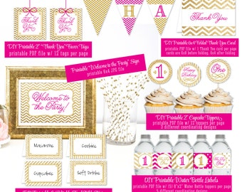 PRINTABLE First Birthday Party Pack 1st Bday Girl -  Gold Glitter Pink Banner Cupcake Toppers Bottle Labels Food Tents Favor Tags - Big One
