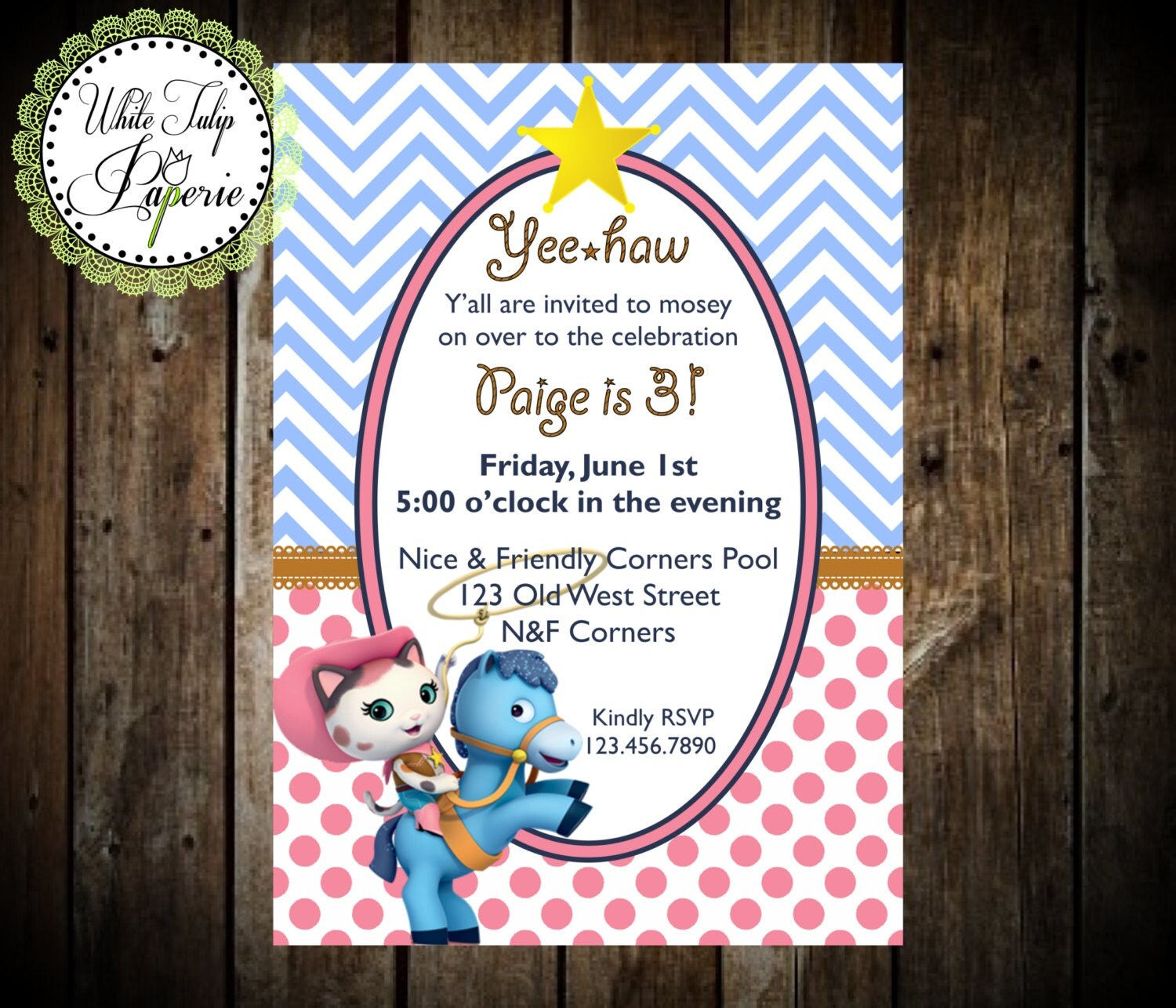 Sheriff Callie Birthday Invitation Sheriff Callie invitation