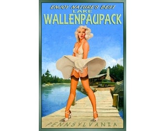 LAKE WALLENPAUPACK PA Retro Marilyn Monroe Travel Poster -available in 3 sizes- New Original Wind Blown Skirt Pin Up Art Print 027