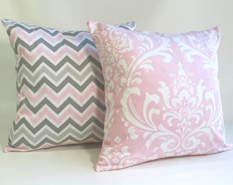 Pillow, Cushion, Bella Pink and storm grey nursery pillows, pink damask pillow, pink chevron pillow, girl nursery pillow, home decor