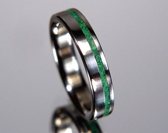 Malachite Pinstripe Offset Inlay Titanium Wedding Band or Ring