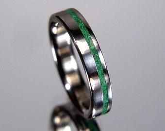 Malachite Pinstripe Offset Inlay Titanium Wedding Band or Ring